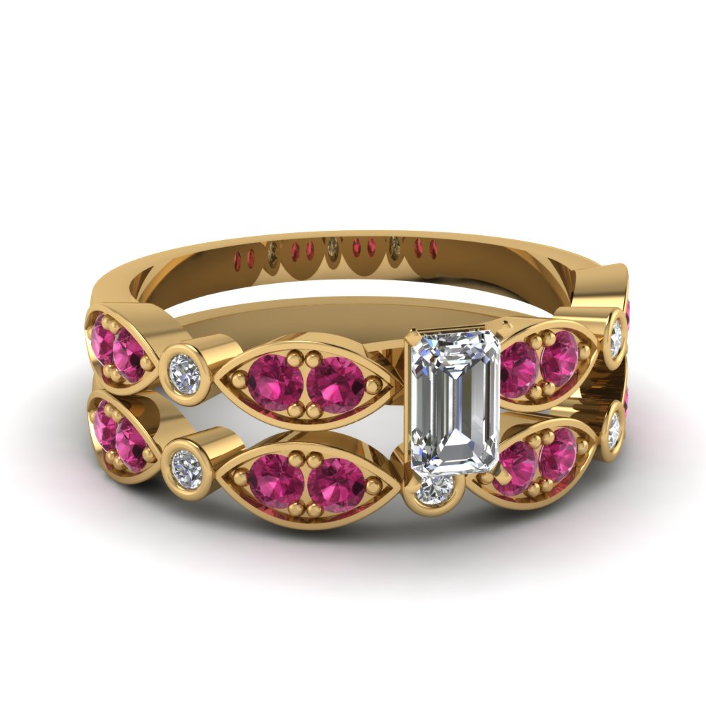 art deco emerald cut diamond wedding ring set with pink sapphire in FDENS2035EMGSADRPI NL YG