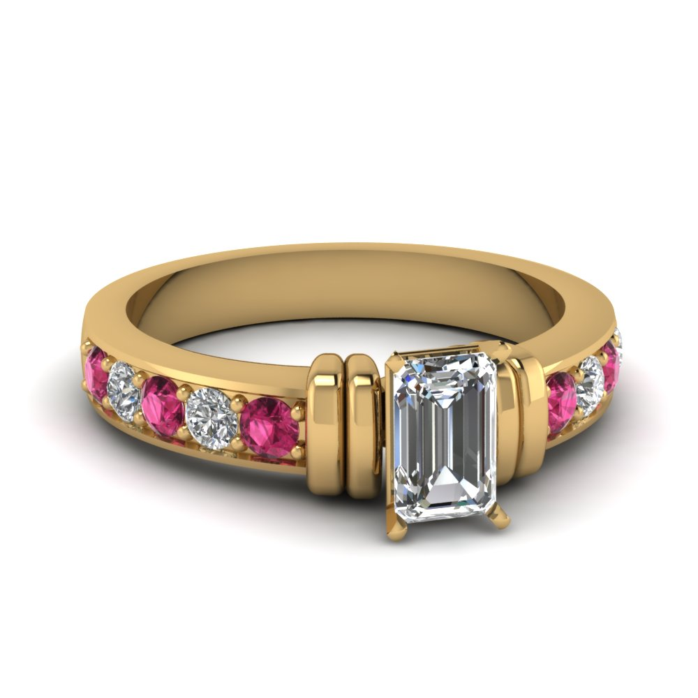 simple bar set emerald cut diamond engagement ring with pink sapphire in FDENR957EMRGSADRPI Nl YG