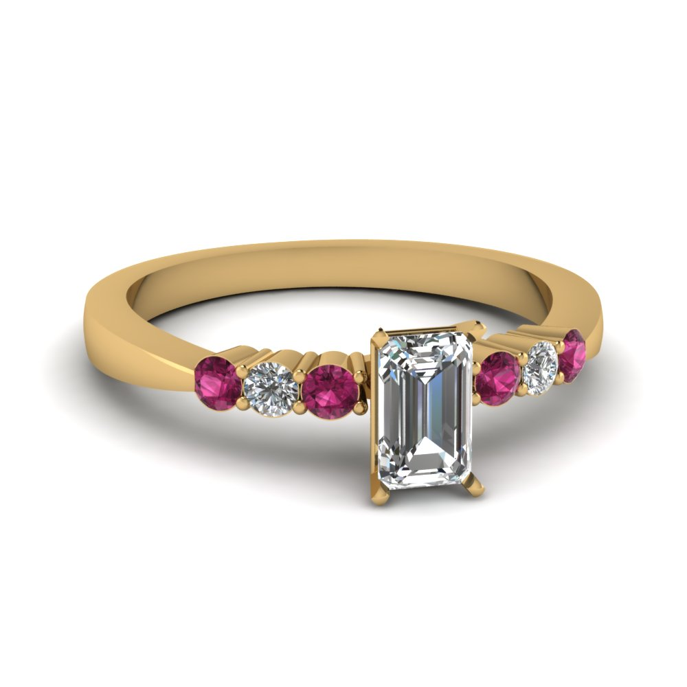 emerald cut tapered 7 stone engagement ring with pink sapphire in FDENS750EMRGSADRPI NL YG