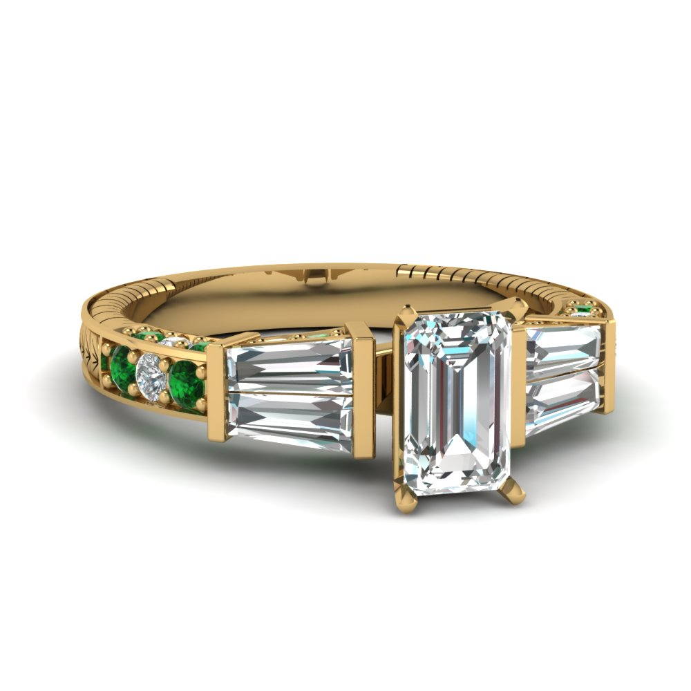 vintage baguette emerald cut diamond engagement ring with emerald in FDENS318EMRGEMGR NL YG