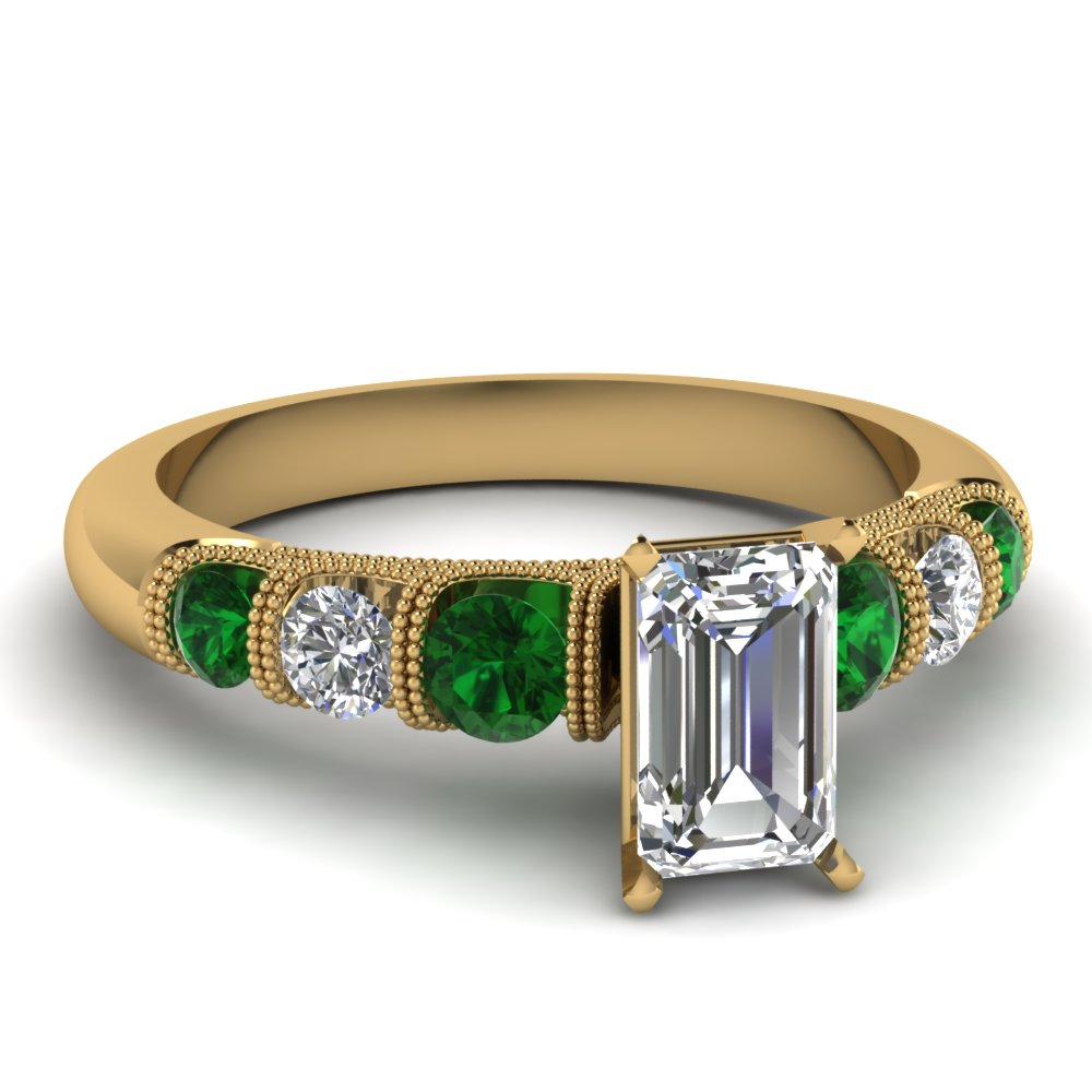 Gold Emerald Cut Milgrain Engagement Rings