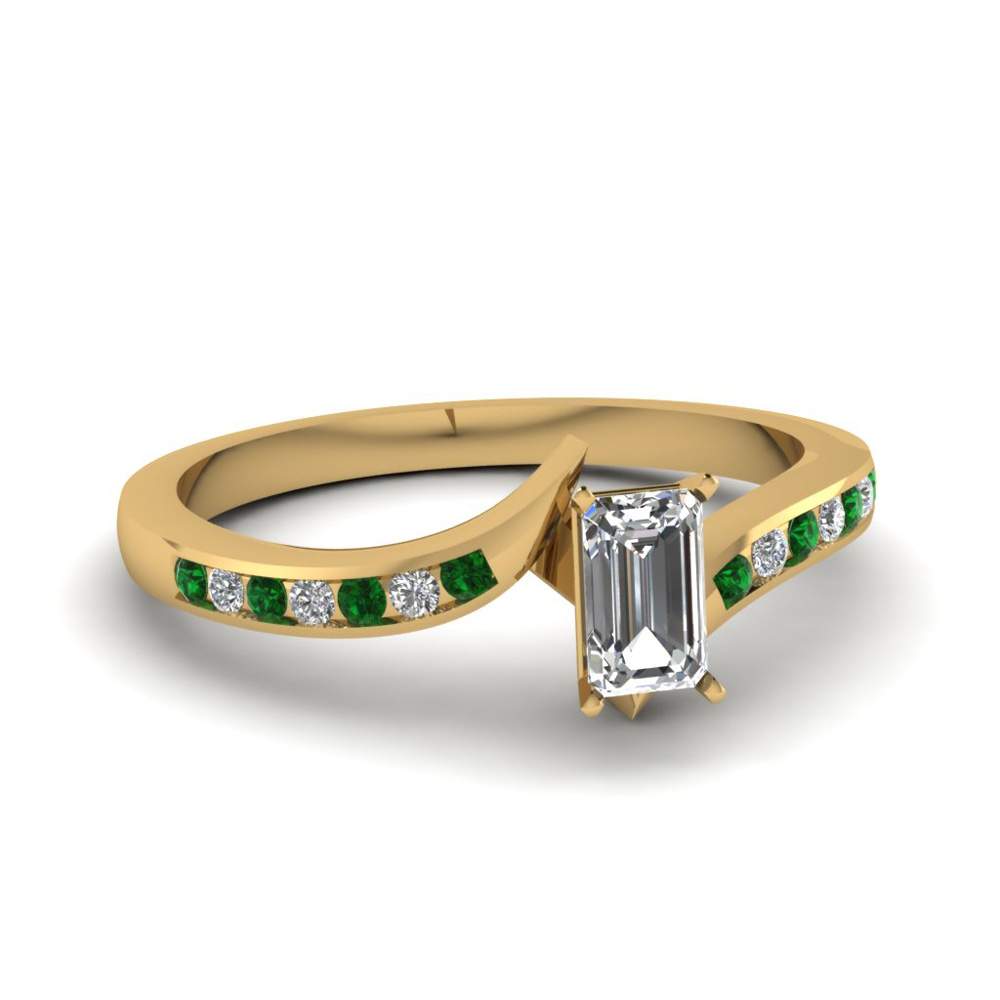 twist channel emerald diamond engagement ring with emerald in FDENS3094EMRGEMGR NL YG 30