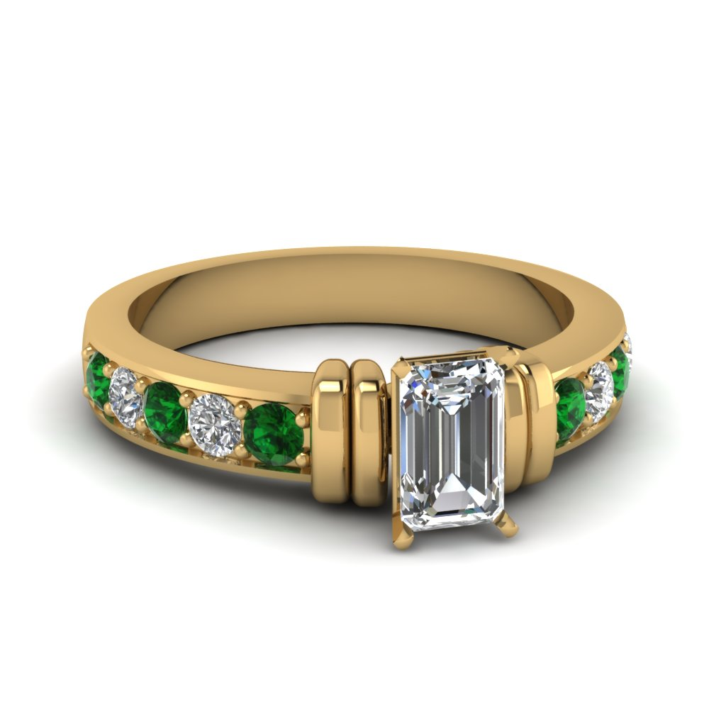 simple bar set emerald cut moissanite engagement ring with emerald in FDENR957EMRGEMGR Nl YG