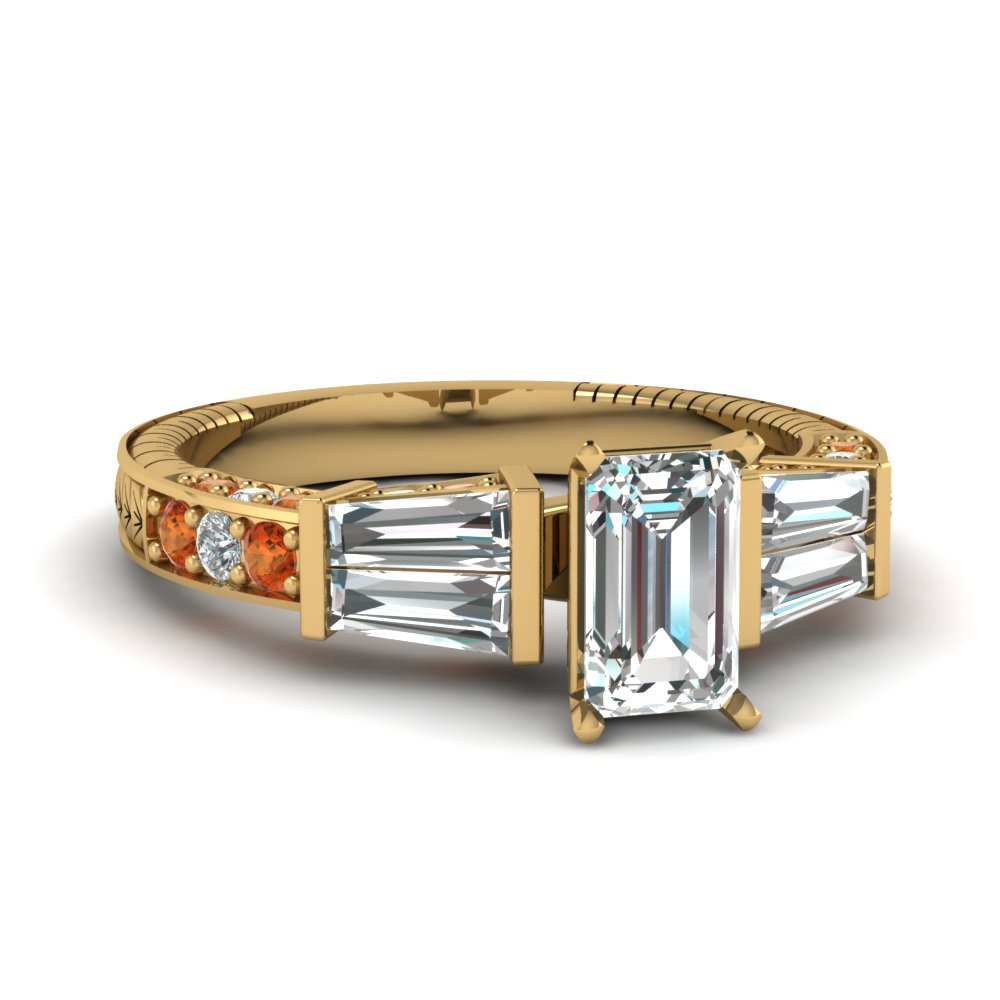 vintage baguette emerald cut diamond engagement ring with orange sapphire in FDENS318EMRGSAOR NL YG