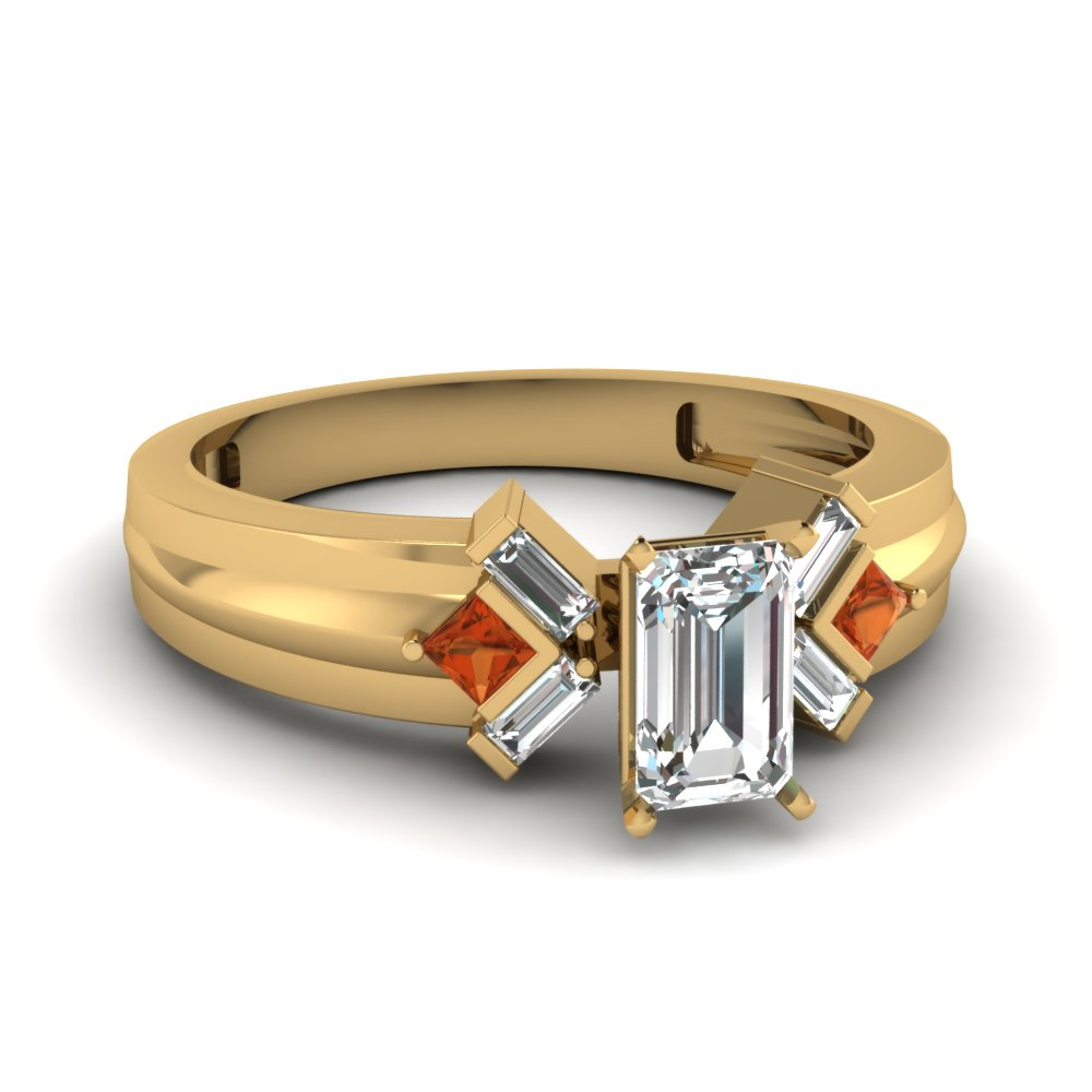 0.75 Ct. Emerald Cut Women Diamond Engagement Ring