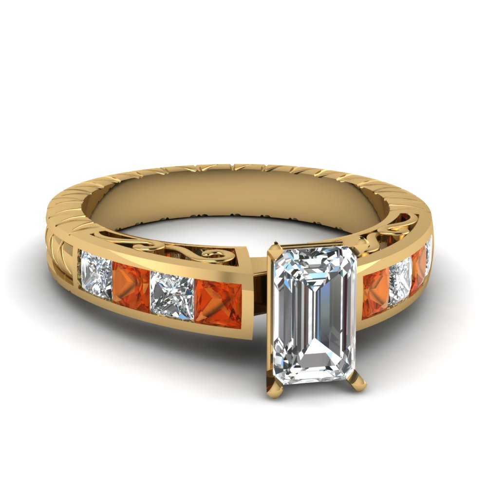 Antique Style Orange Sapphire Ring