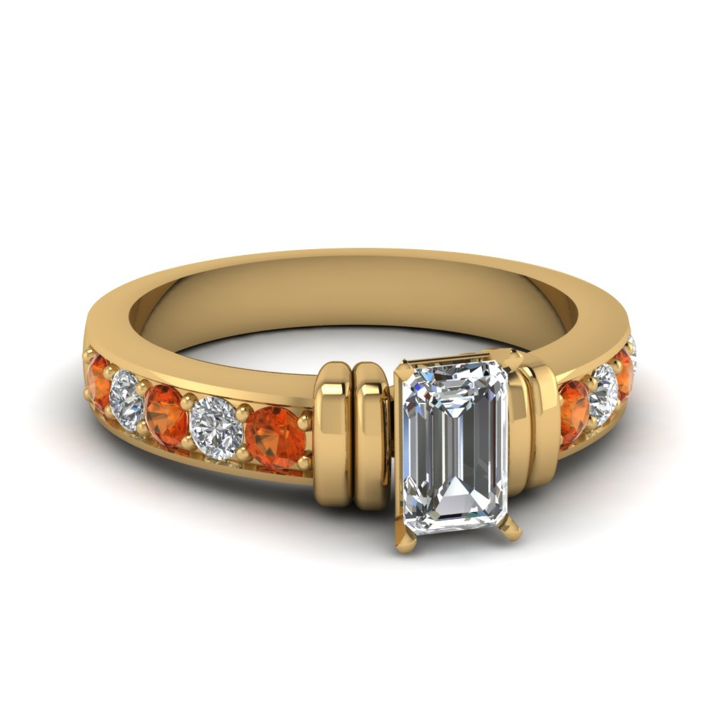 simple bar set emerald cut moissanite engagement ring with orange sapphire in FDENR957EMRGSAOR Nl YG