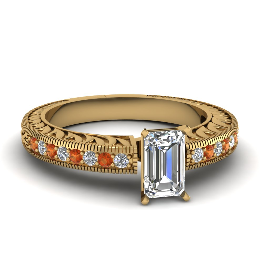 hand engraved emerald cut diamond vintage engagement ring with orange sapphire in FDENS1790EMRGSAOR NL YG