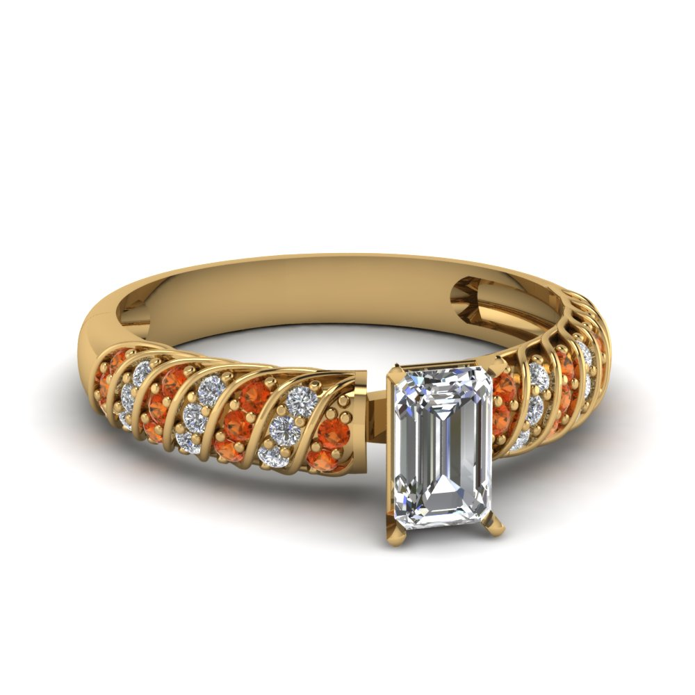 Rope Design Diamond Orange Sapphire Ring