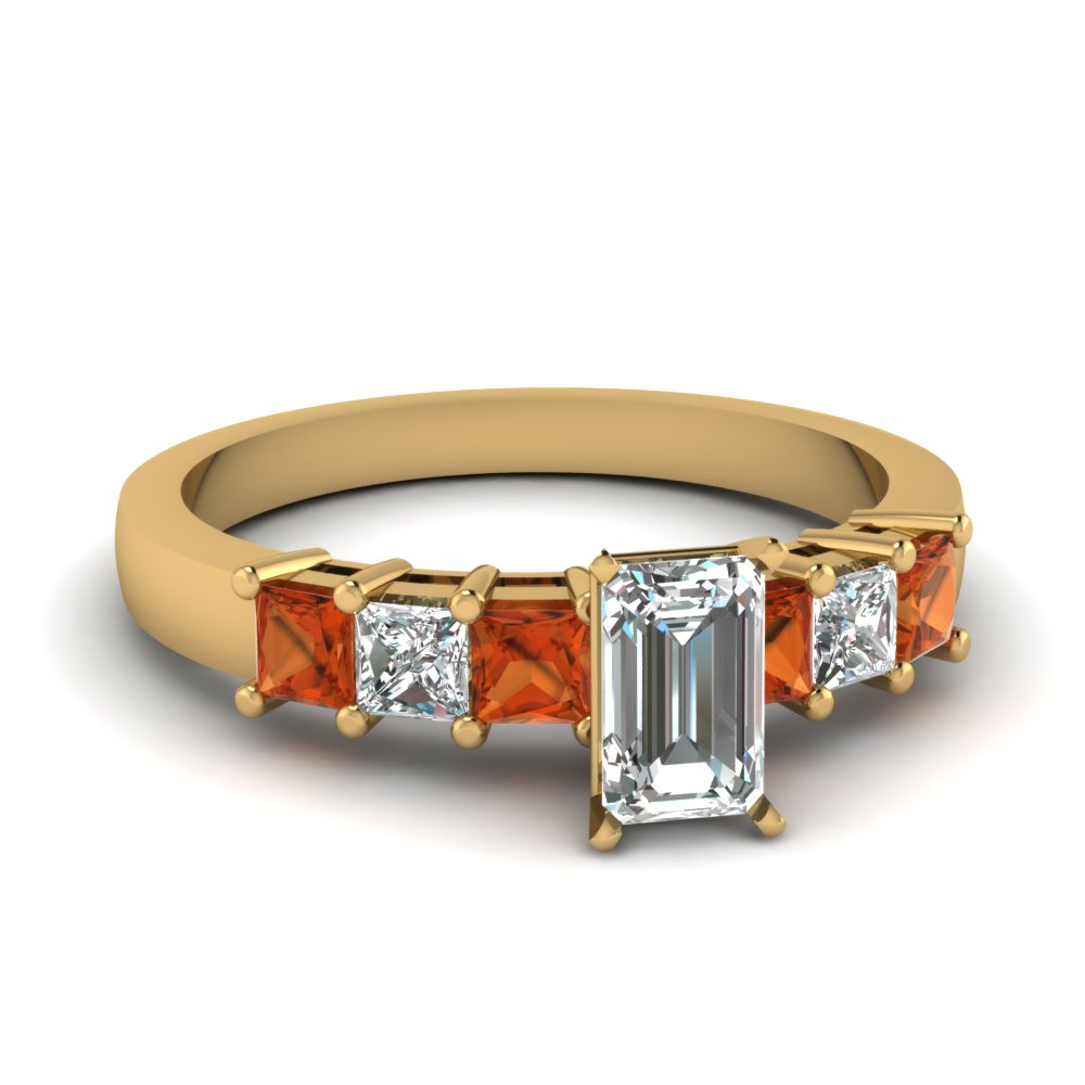 Orange Sapphire And Diamond Emerald Cut Engagement Ring