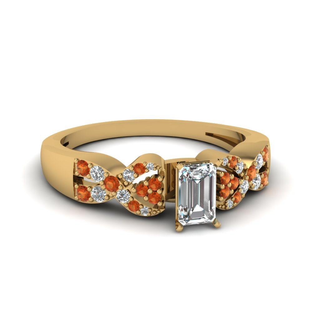 intertwined emerald cut diamond engagement ring with orange sapphire in FDENS3008EMRGSAOR NL YG 30