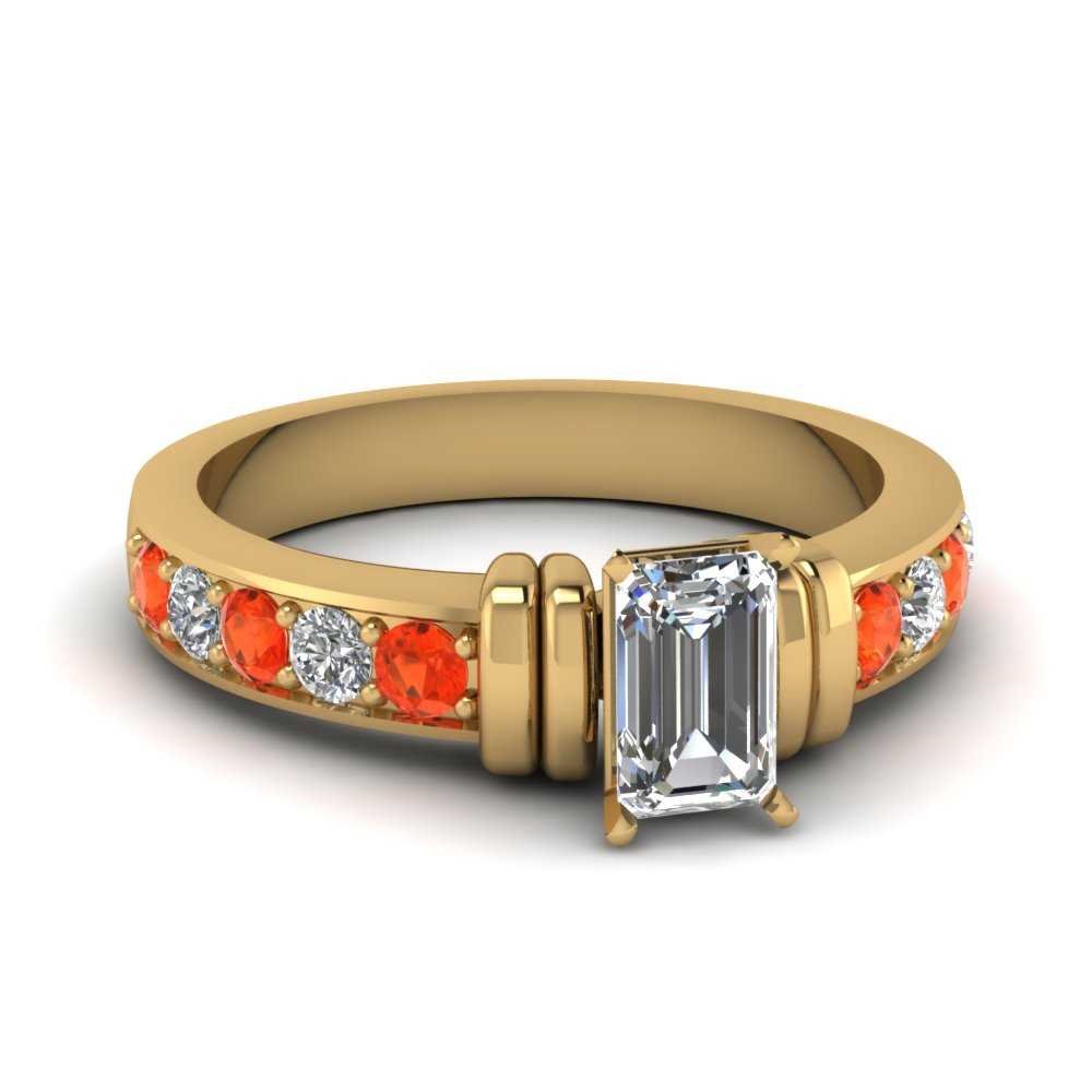 simple bar set emerald cut diamond engagement ring with orange topaz in FDENR957EMRGPOTO Nl YG