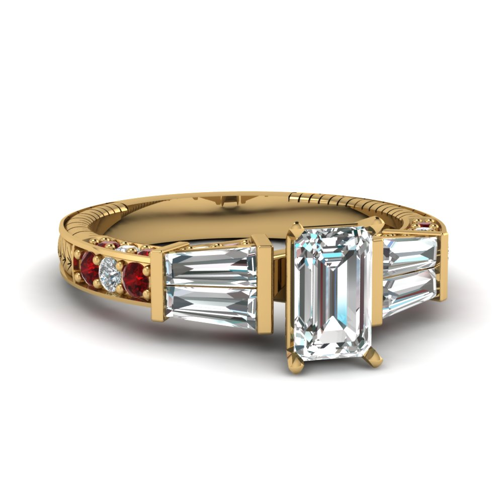 vintage baguette emerald cut diamond engagement ring with ruby in FDENS318EMRGRUDR NL YG