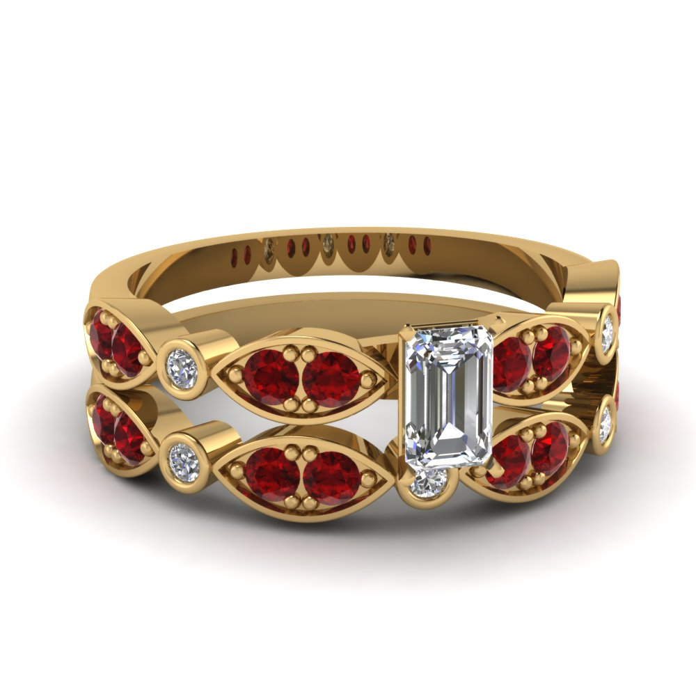 yellow-gold-emerald-white-diamond-engagement-wedding-ring-with-red-ruby-in-pave-bezel-set-FDENS2035EMGRUDR-NL-YG