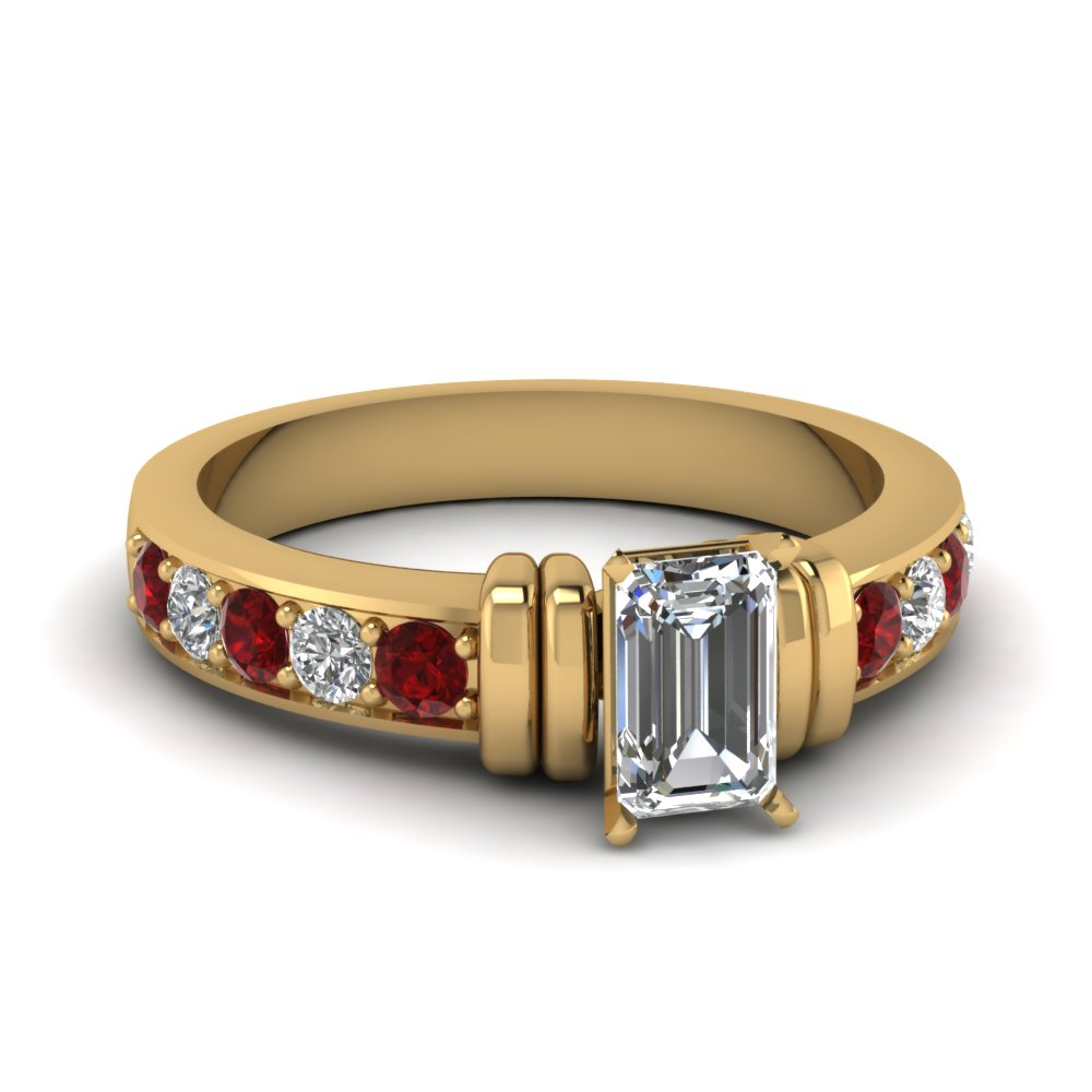 simple bar set emerald cut moissanite engagement ring with ruby in FDENR957EMRGRUDR Nl YG