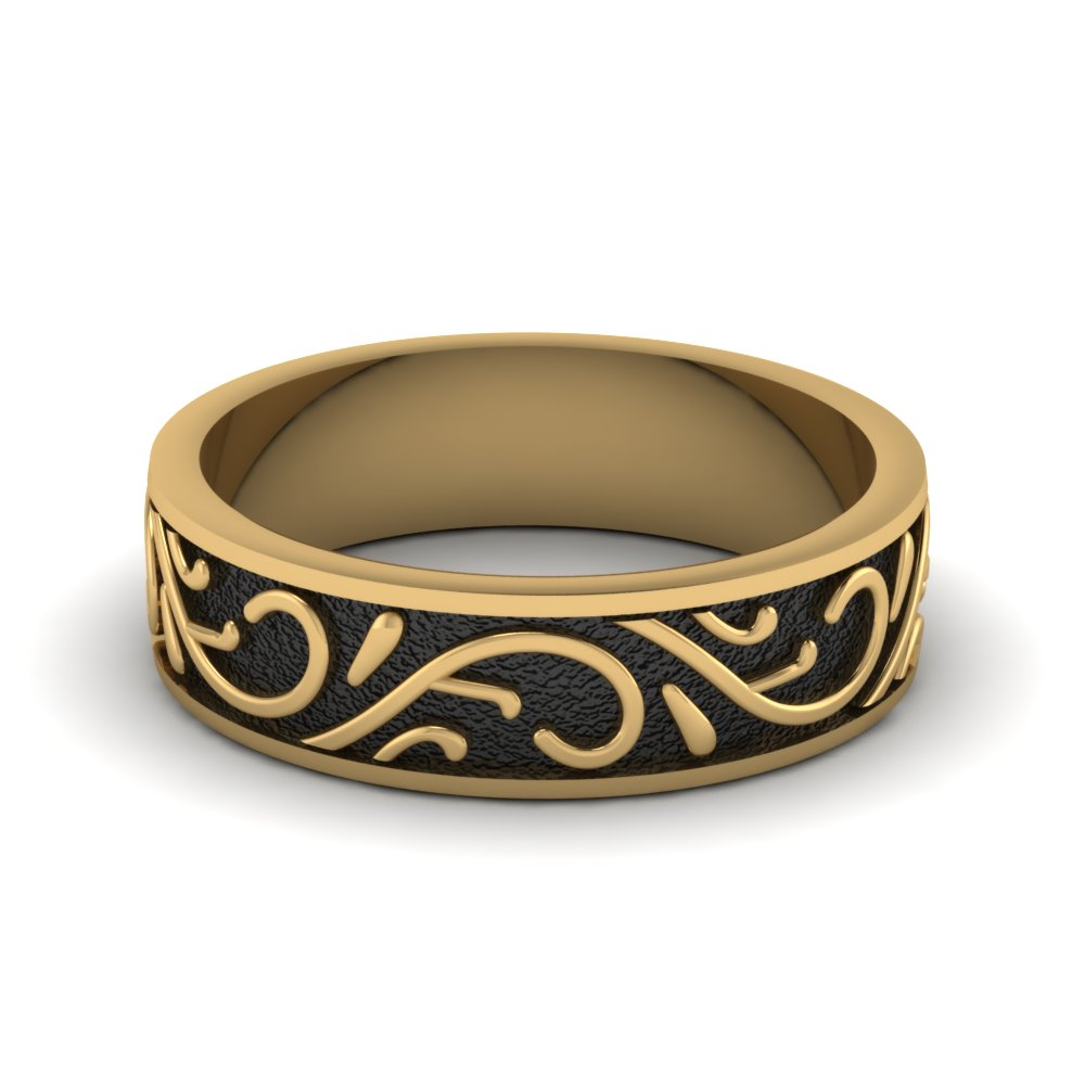 Embossed Black And Yellow Gold Wedding Band