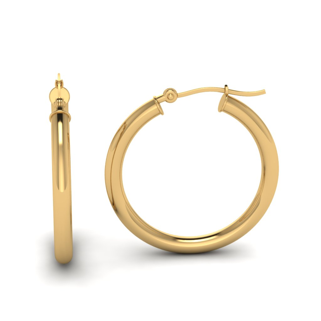 Yellow Gold Glossy Matte Hoops Earrings Fdear20270 20mm