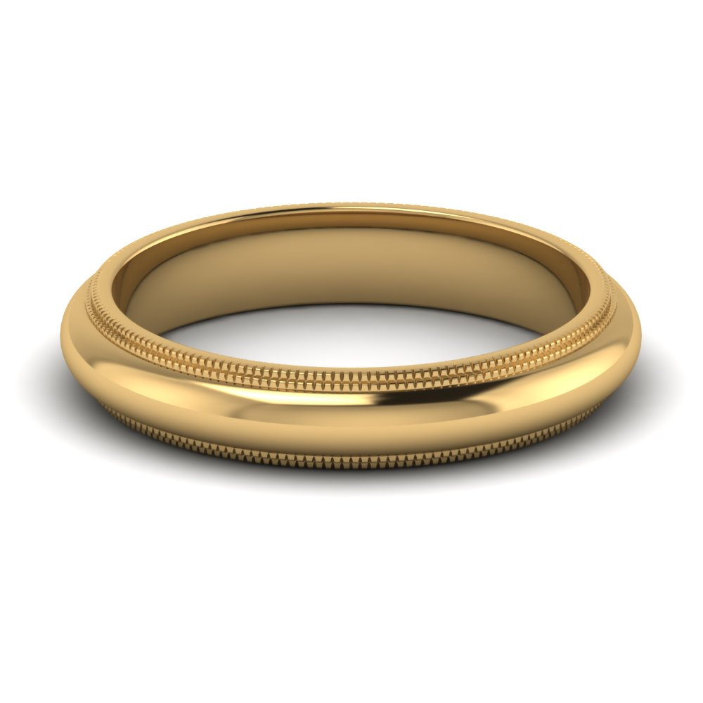 Yellow Gold Grooved Mens Wedding Band FDDMGR7B 4MM