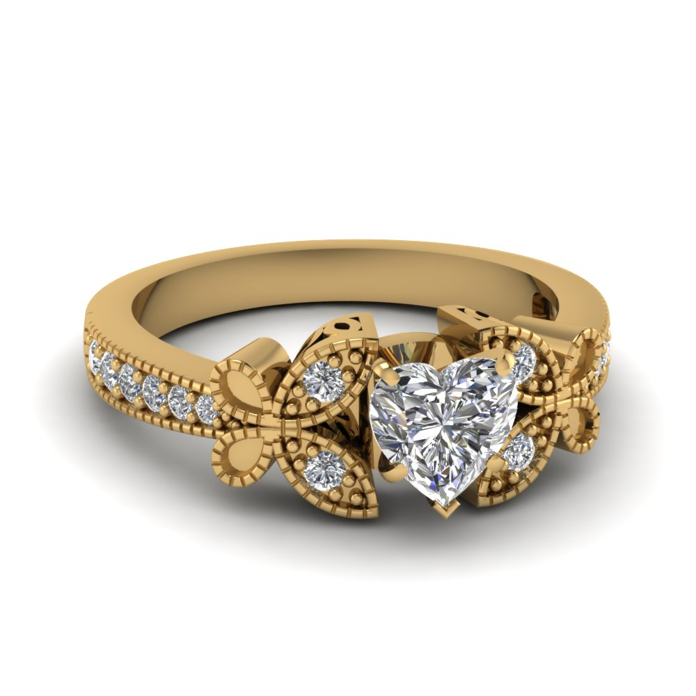 yellow gold heart white diamond engagement wedding ring in pave set fascinating diamonds. Black Bedroom Furniture Sets. Home Design Ideas
