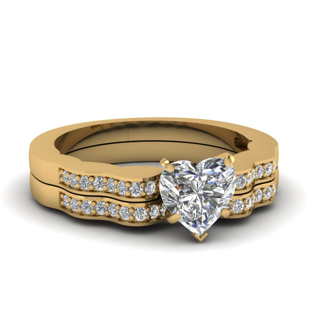 Yellow gold heart white diamond engagement wedding ring in for Wedding ring sets white gold