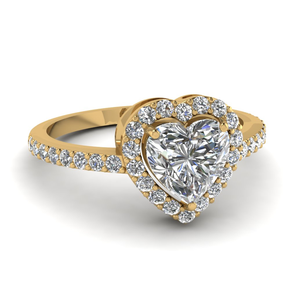 Beautiful 14k Yellow Gold Halo Engagement Rings Fascinating Diamonds