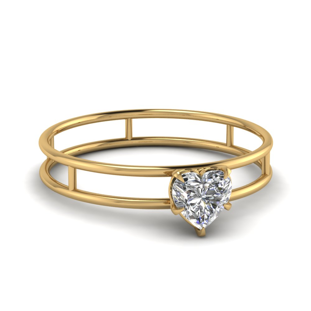 basket heart shaped solitaire engagement ring in FD1065HTR NL YG