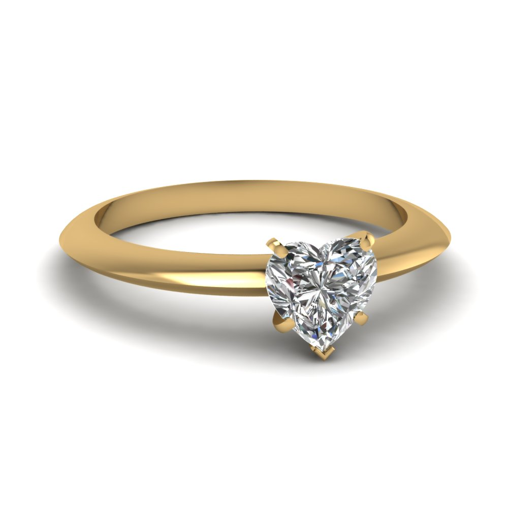 Gold Heart Cut Solitaire Rings