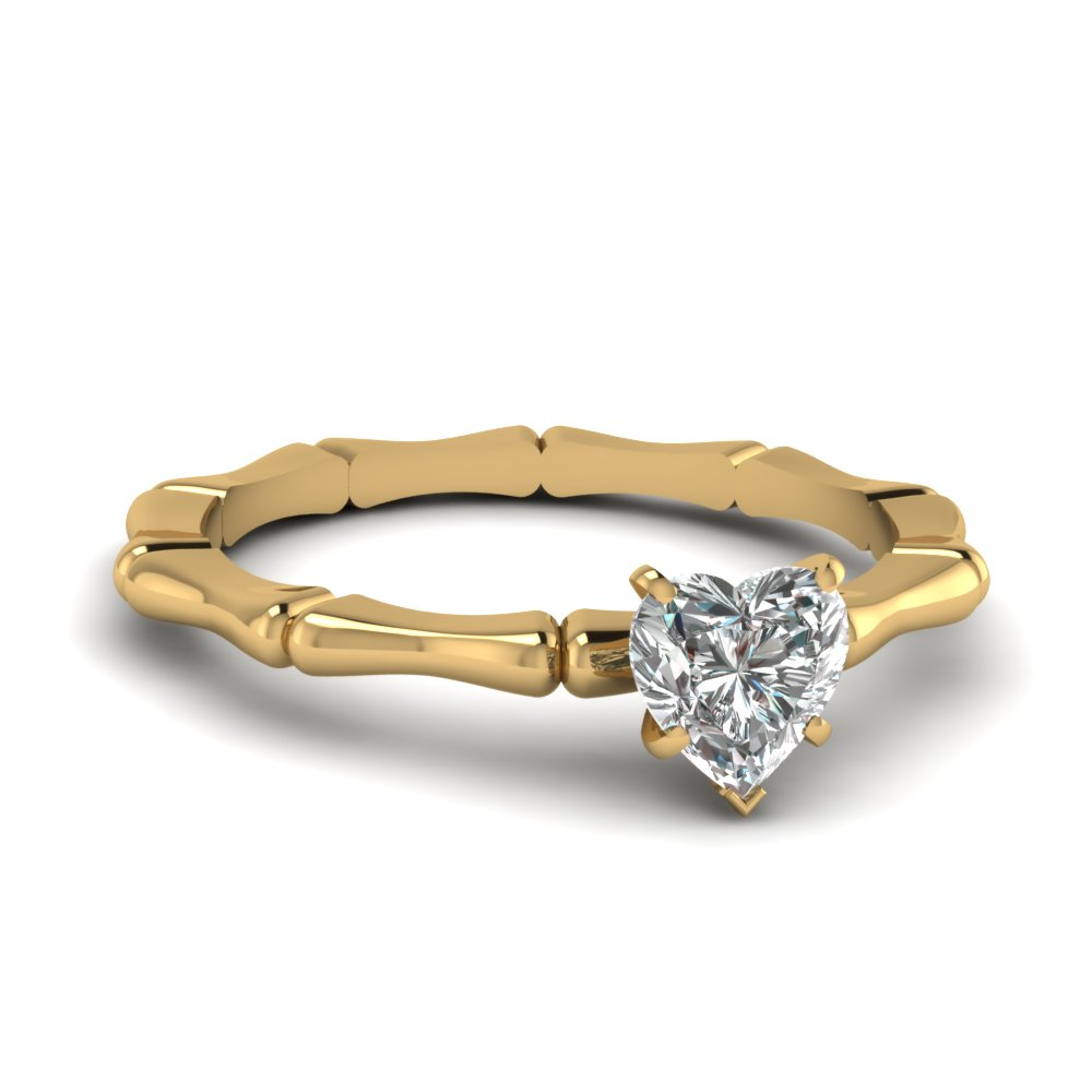 bone design heart diamond solitaire engagement ring in FDENS1823HTR NL YG.jpg