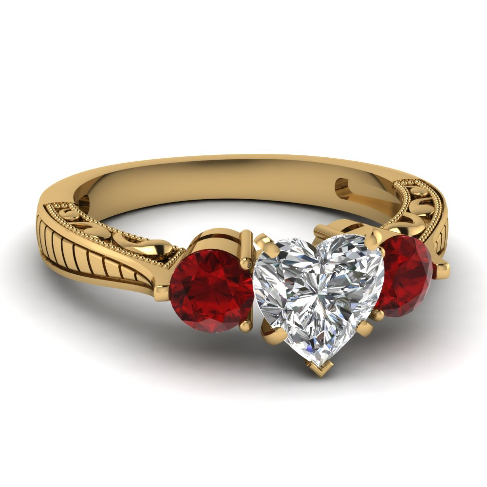 3 Stone Heart Shaped Engagement Rings