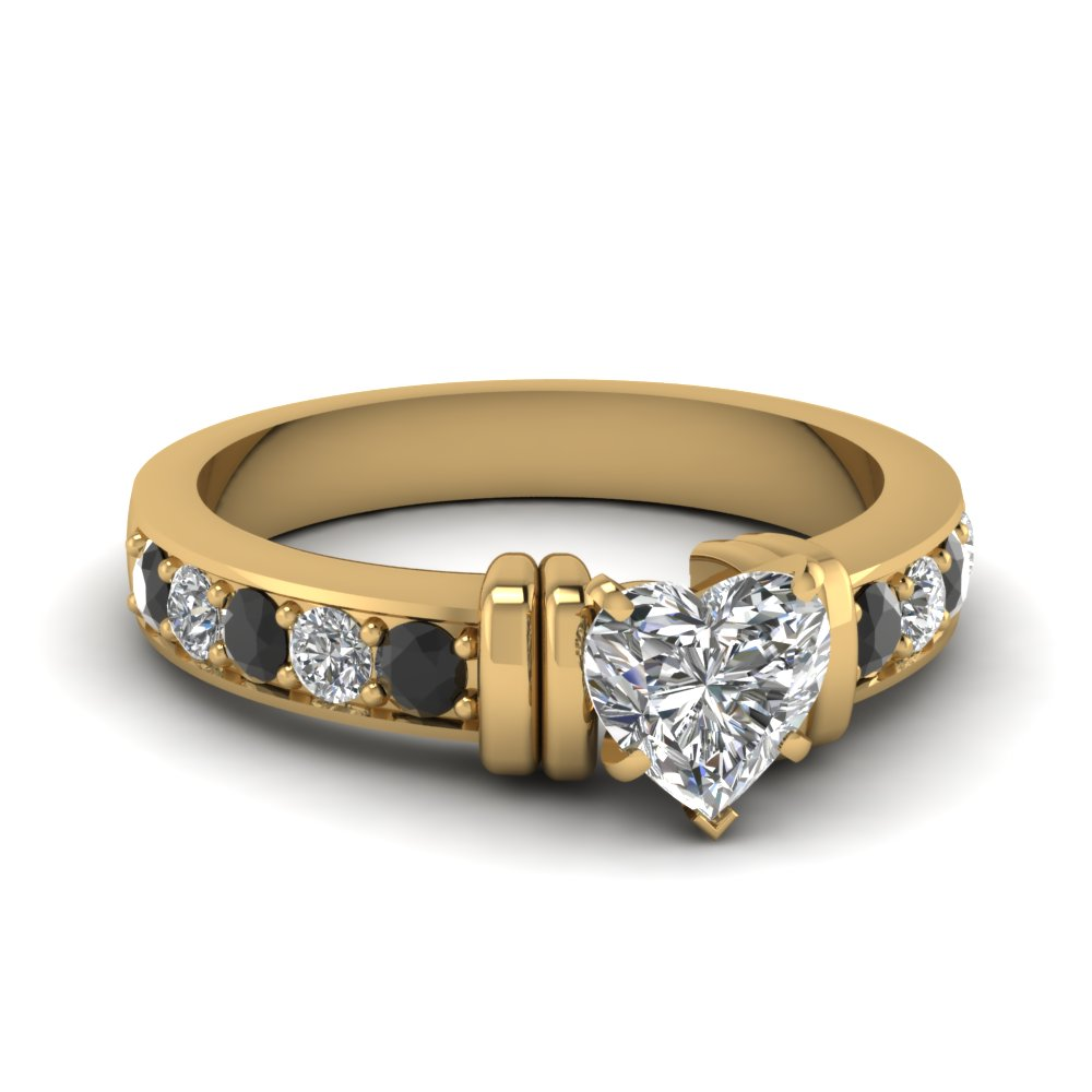 simple bar set heart engagement ring with black diamond in FDENR957HTRGBLACK Nl YG
