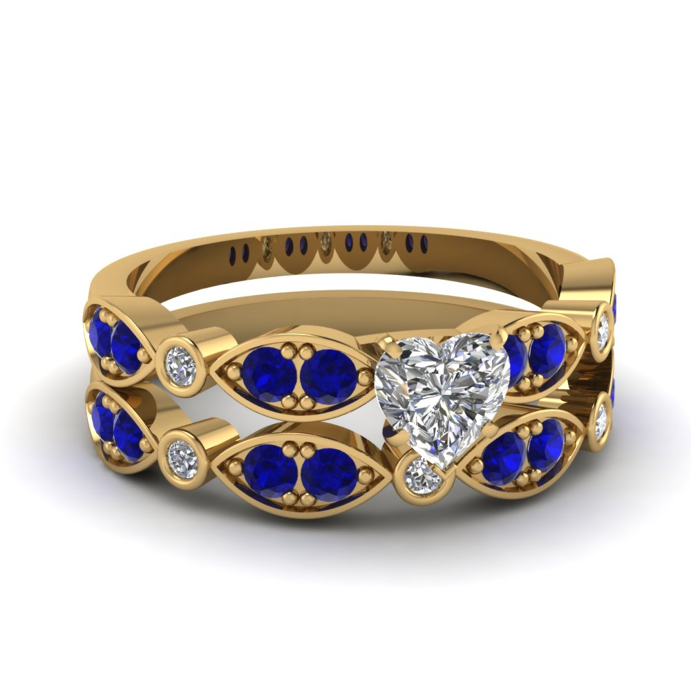 art deco heart diamond wedding ring set with sapphire in FDENS2035HTGSABL NL YG