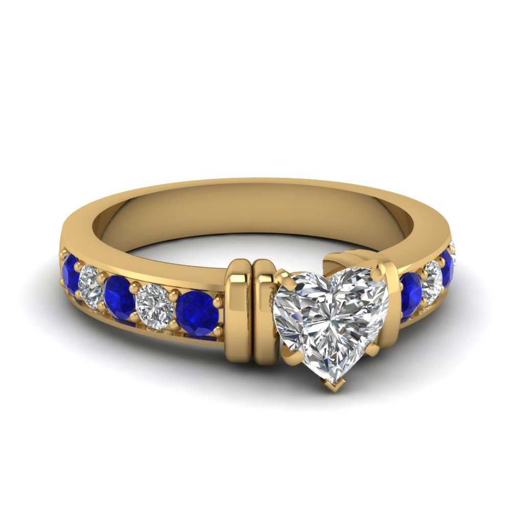 simple bar set heart diamond engagement ring with sapphire in FDENR957HTRGSABL Nl YG