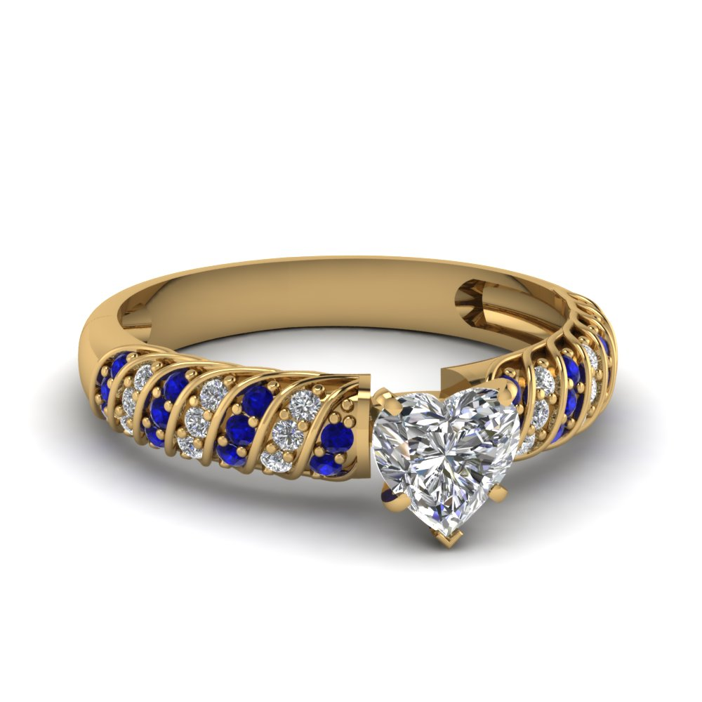 rope design heart diamond engagement ring with sapphire in FDENS3048HTRGSABL NL YG 30
