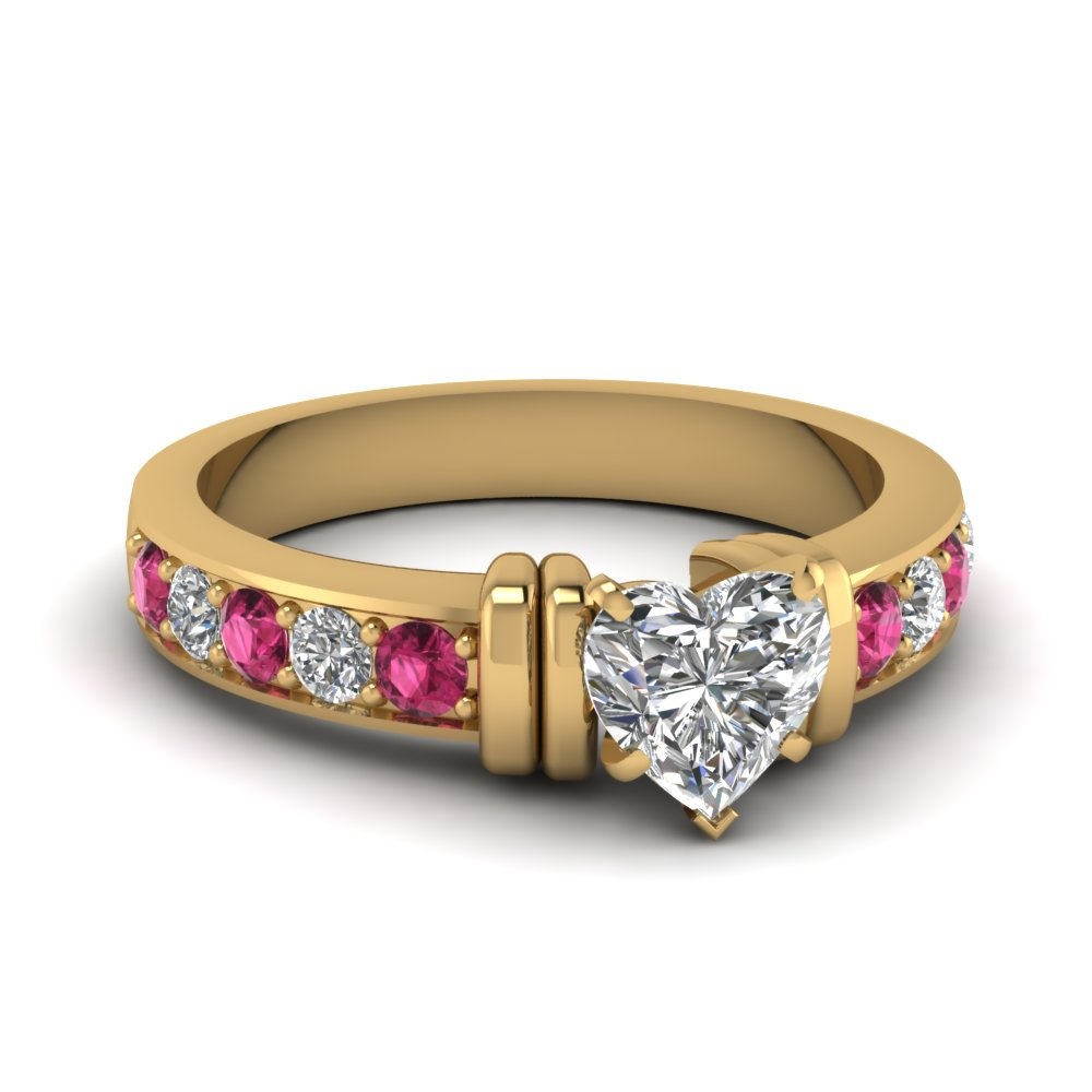 simple bar set heart lab diamond engagement ring with pink sapphire in FDENR957HTRGSADRPI Nl YG