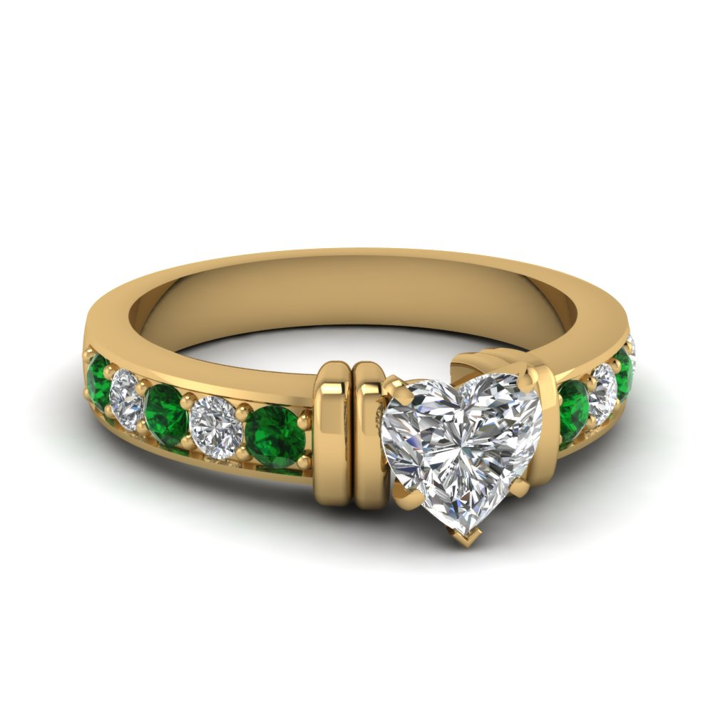 simple bar set heart diamond engagement ring with emerald in FDENR957HTRGEMGR Nl YG