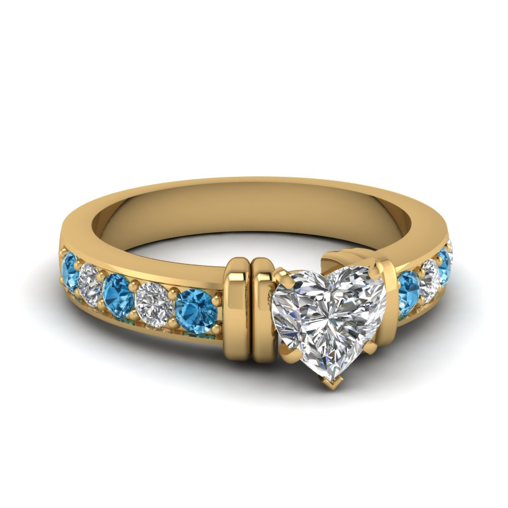 simple bar set heart lab diamond engagement ring with blue topaz in FDENR957HTRGICBLTO Nl YG