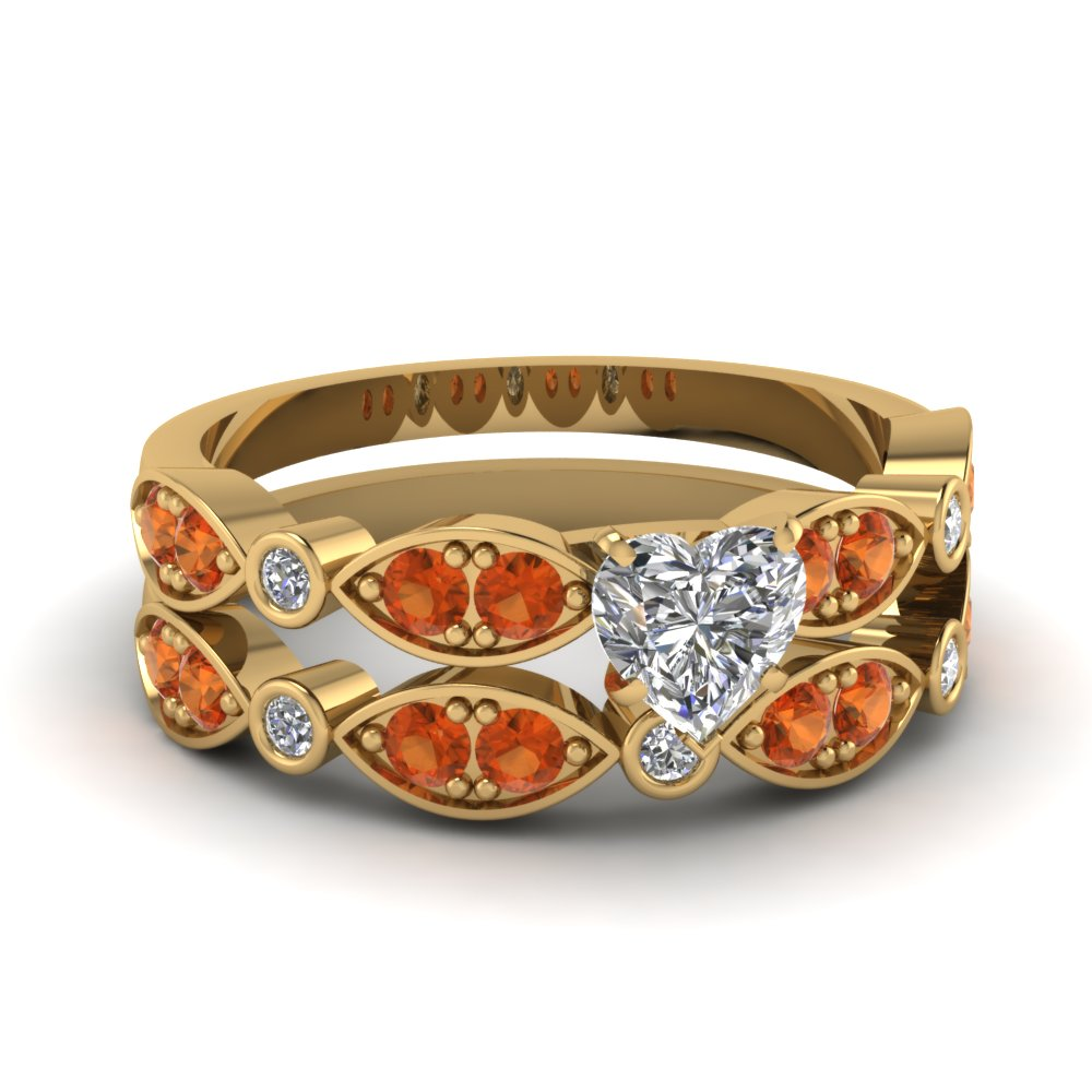 art deco heart diamond wedding ring set with orange sapphire in FDENS2035HTGSAOR NL YG