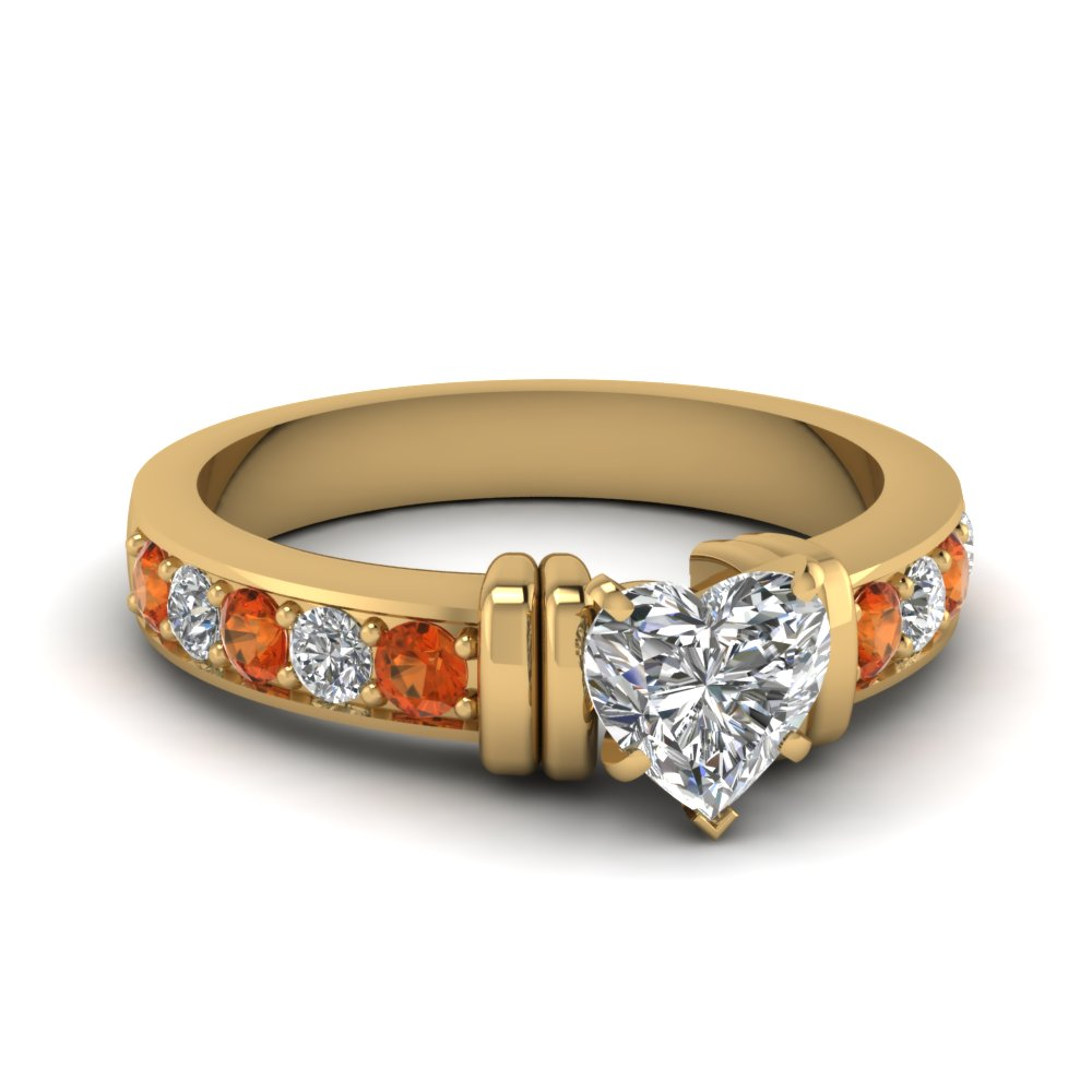 simple bar set heart moissanite engagement ring with orange sapphire in FDENR957HTRGSAOR Nl YG