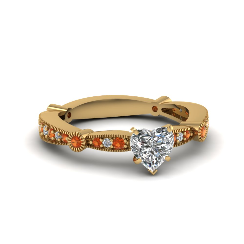 heart diamond vintage tapered engagement ring with orange sapphire in FDENS3026HTRGSAOR NL YG