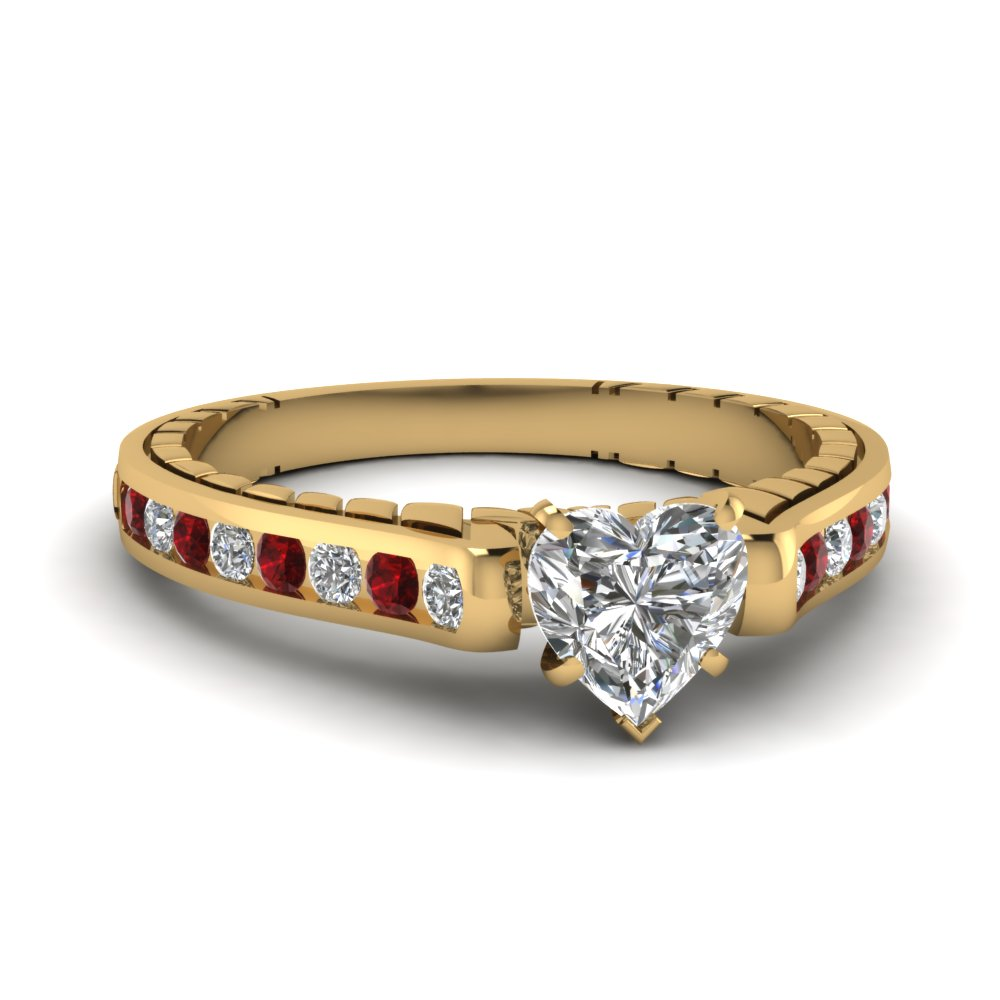 Ruby and Diamond Heart Shaped Engagement Ring in channel setting