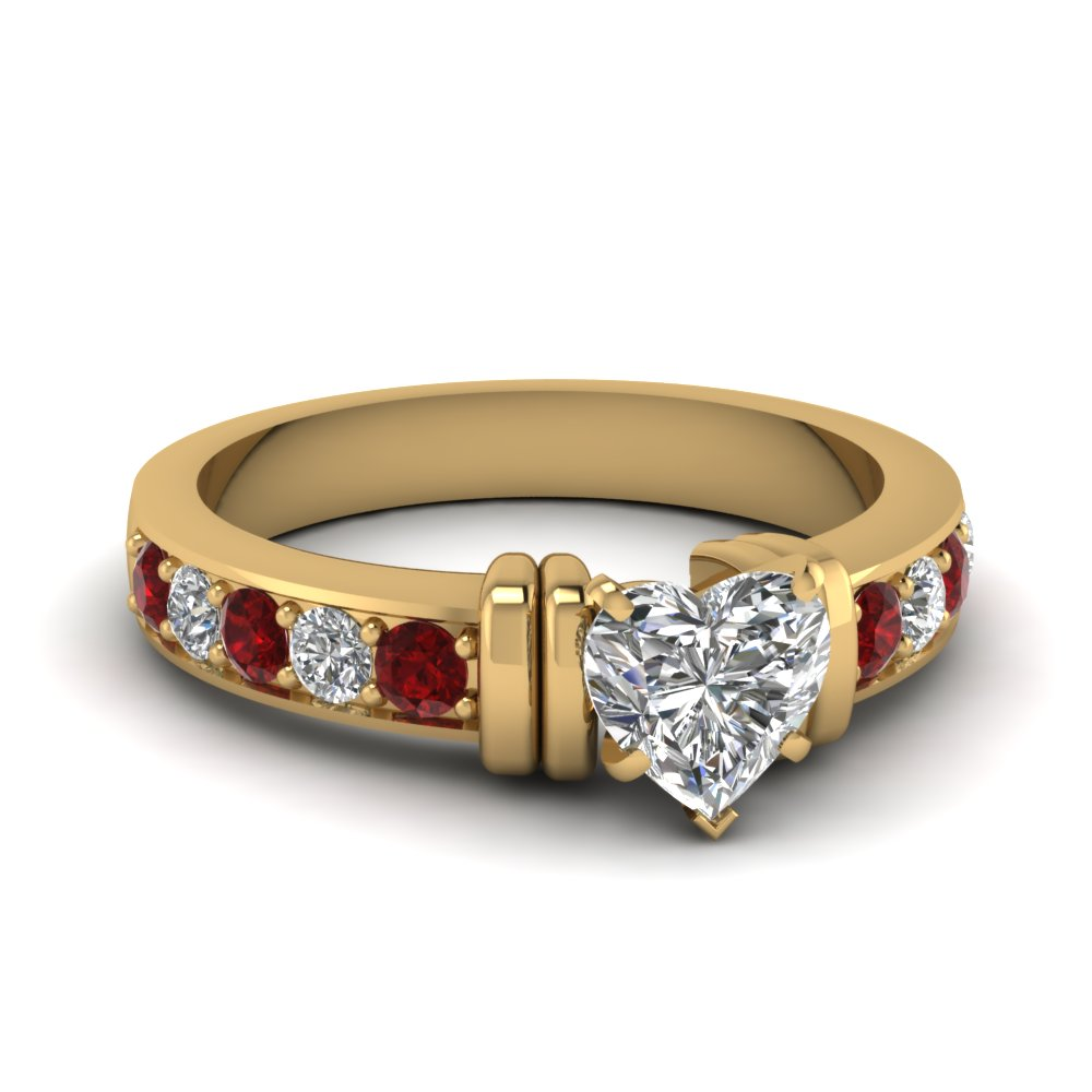 simple bar set heart diamond engagement ring with ruby in FDENR957HTRGRUDR Nl YG