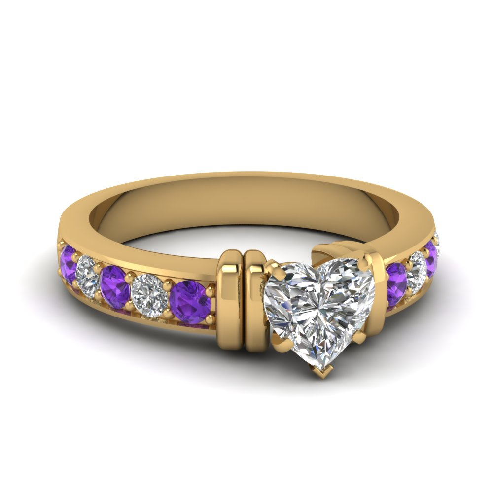 simple bar set heart diamond engagement ring with violet topaz in FDENR957HTRGVITO Nl YG