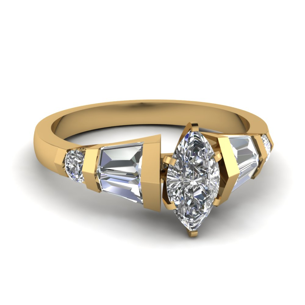 Tapered Marquise Diamond Ring