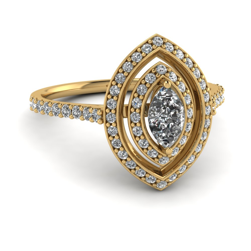 Marquise Diamond Double Halo Ring