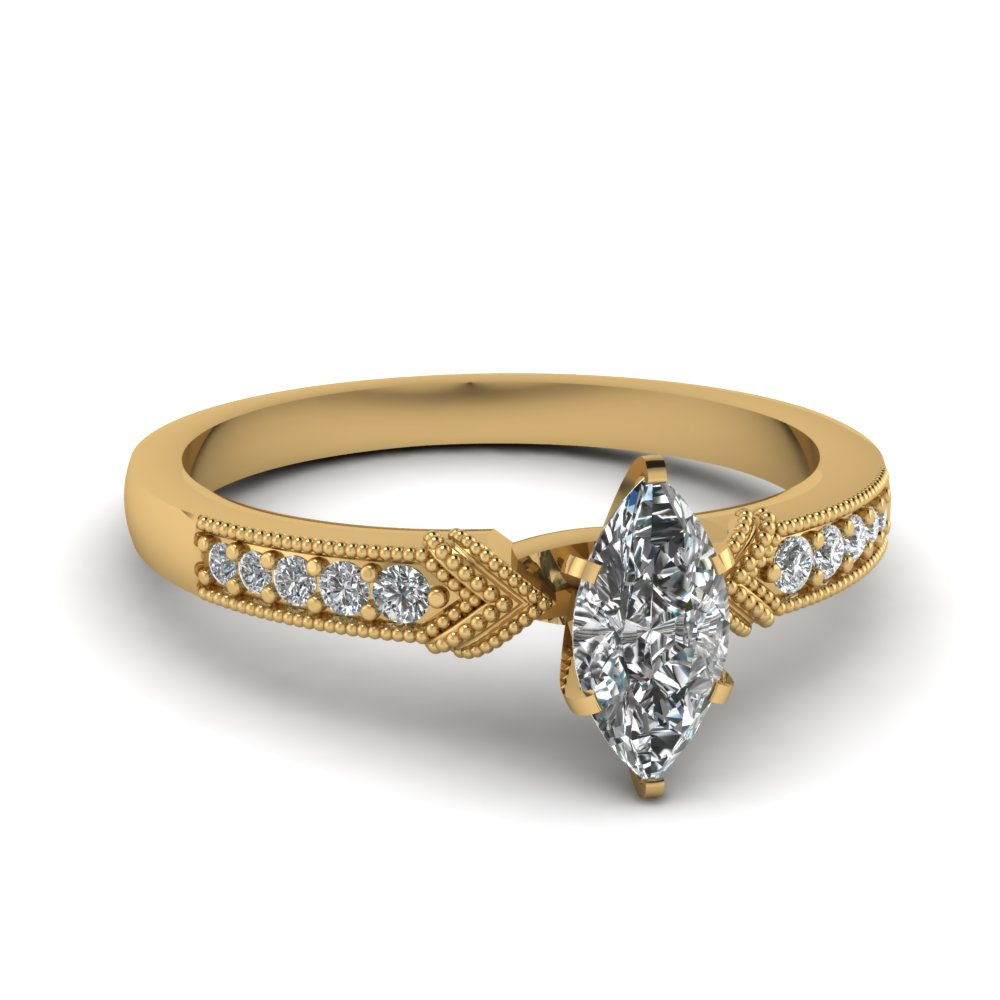Yellow Gold Marquise White Diamond Engagement Wedding Ring In Pave Set Fasc
