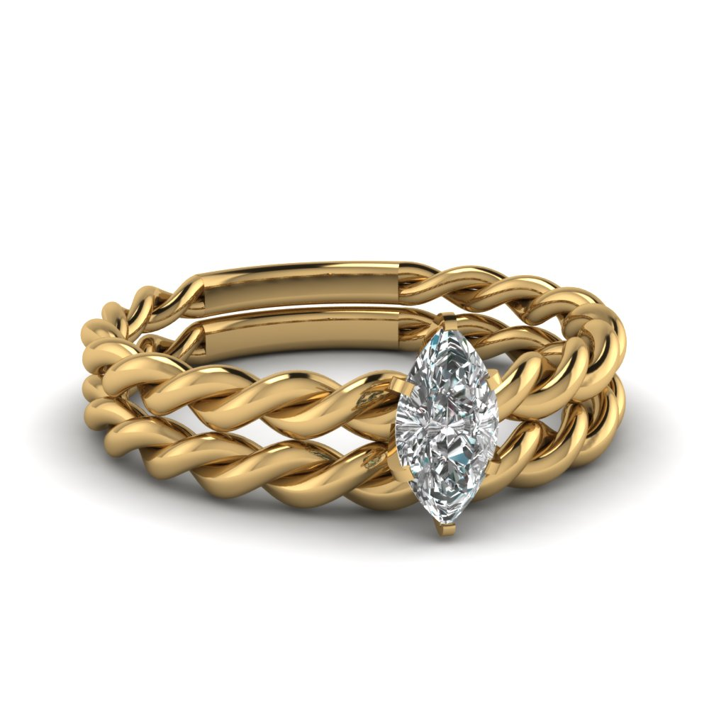 Rope Marquise Yellow Gold Wedding Ring Set