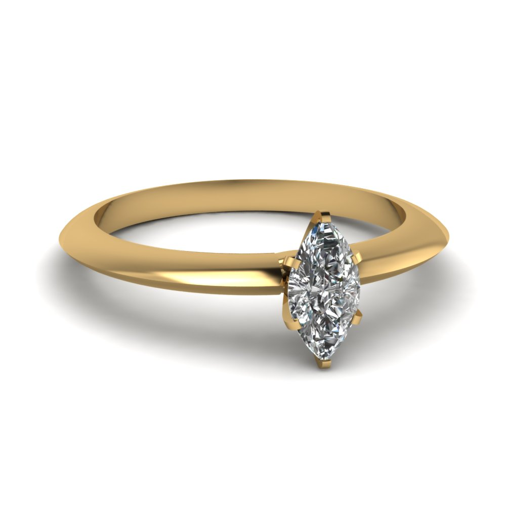Knife Edged Marquise Solitaire Ring