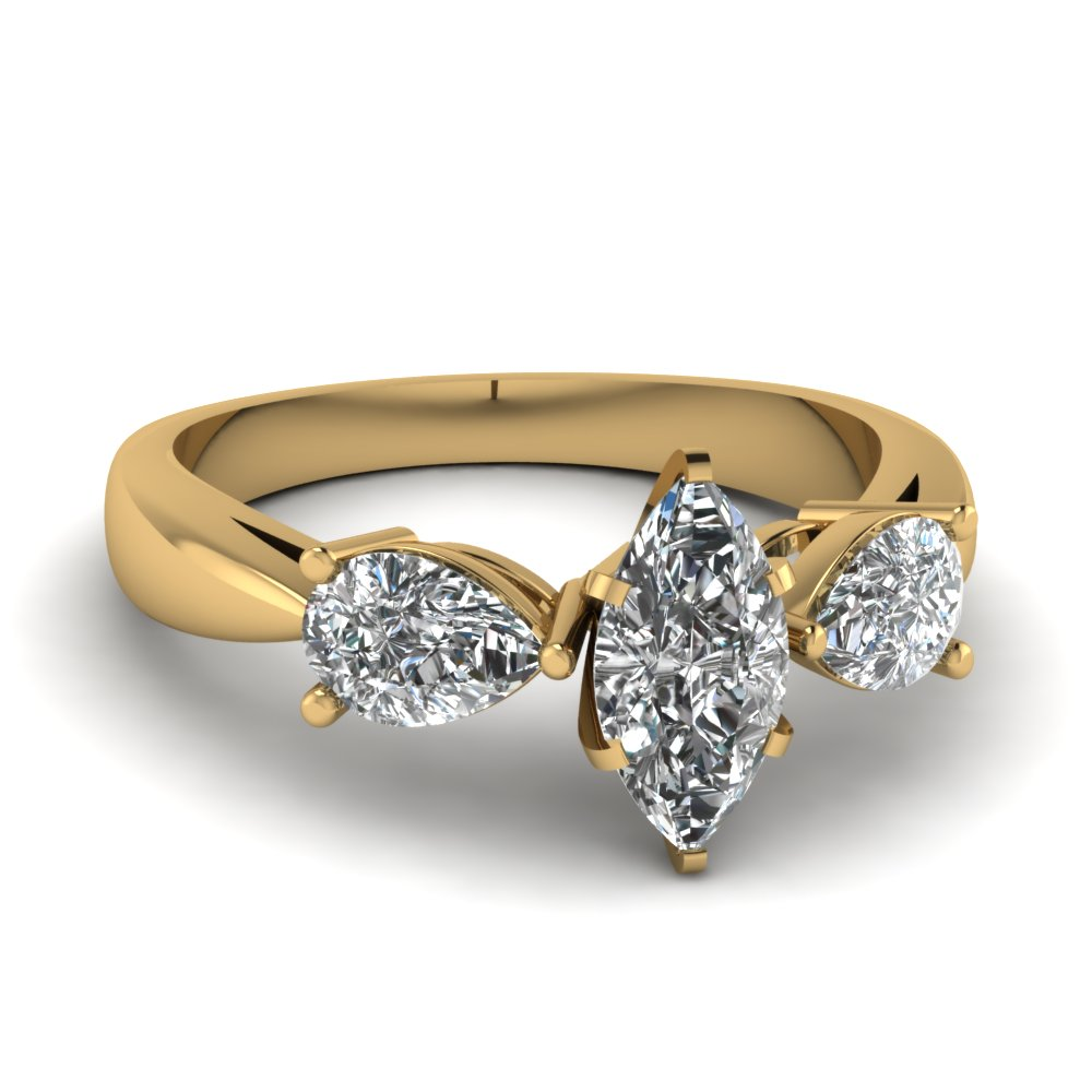 Tear Drop 3 Stone Marquise Cut Engagement Ring In 18k Yellow Gold