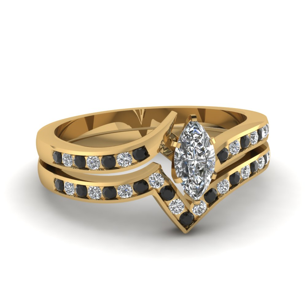 Twist Channel Marquise Wedding Set With Black Diamond In 18K
