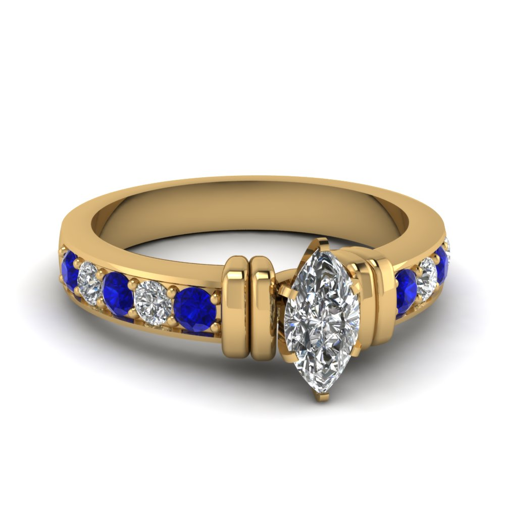 simple bar set marquise diamond engagement ring with sapphire in FDENR957MQRGSABL Nl YG
